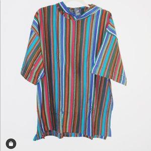 90s vintage hooded striped TShirt